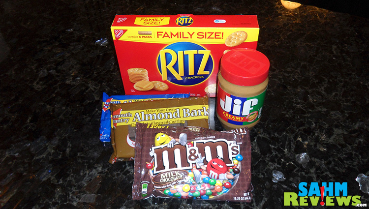 Chocolate Covered Ritz & Peanut Butter with M&M's Ingredients #shop #bakingideas