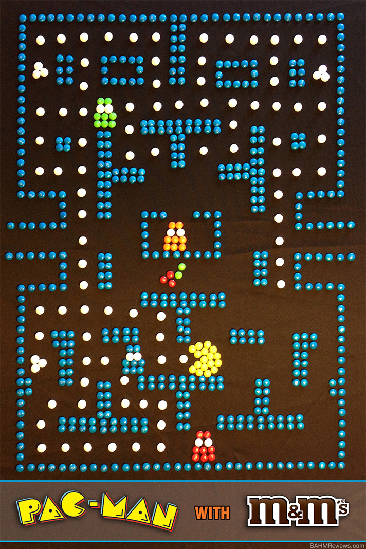 We built an entire Pac-Man board using only M&M's! See how we did it! - SahmReviews.com