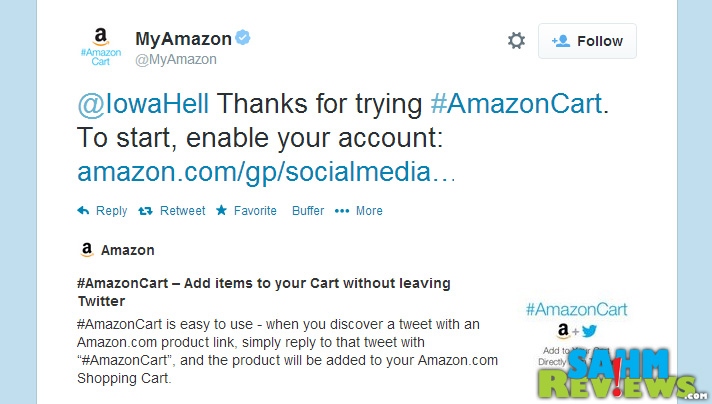 #AmazonCart is a new feature allowing you to add items to your Amazon cart without leaving your Twitter feed! - SahmReviews.com