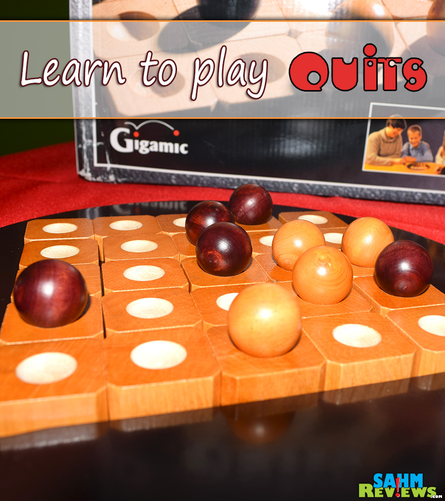 Quits is a wooden strategy game for 2-4 players where you'll never have the same game twice! - SahmReviews.com