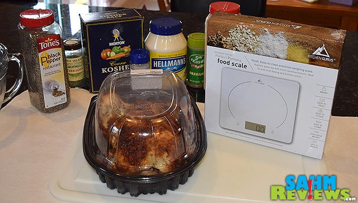Weighing the chicken for Rotisserie Chicken Salad recipe. - SahmReviews.com