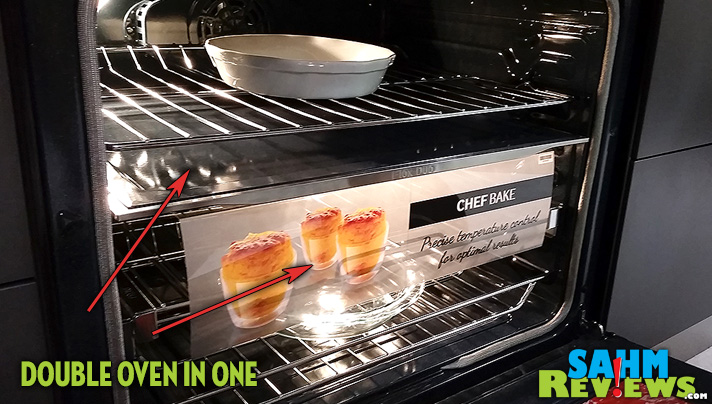 Samsung's Chef Collection Range is like having a double oven in half the space! With a divider that allows cooking at two temperatures, this range has multi-tasking written all over it. - SahmReviews.com #MasterYourHome