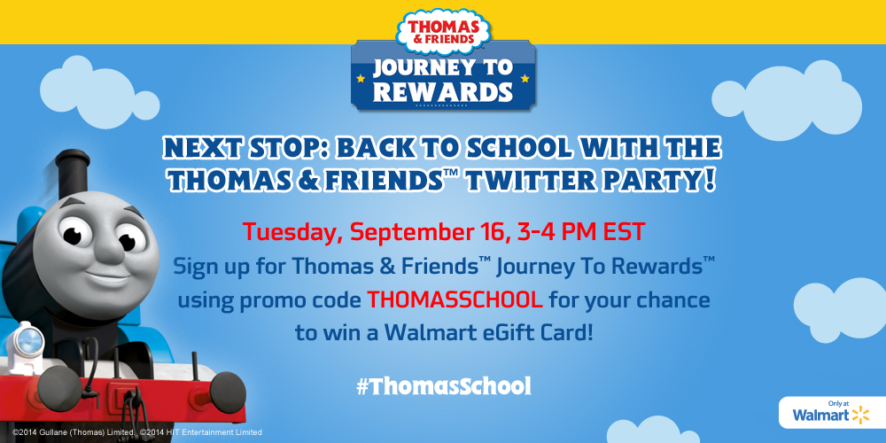 Join us for a Thomas the Train Twitter party on 9/16/14 where you have the opportunity to win a number of great prizes! #ThomasSchool - SahmReviews.com