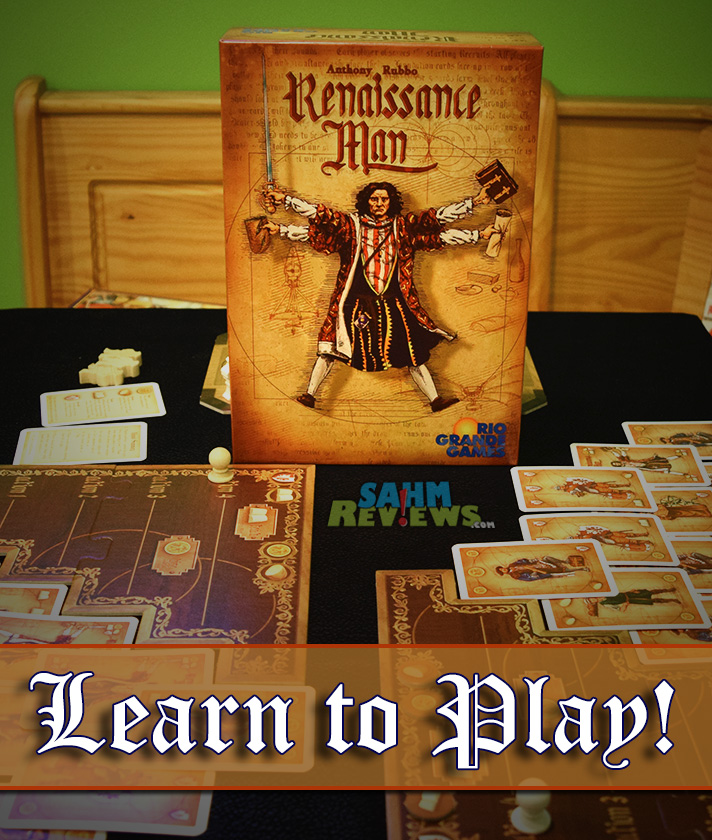 Renaissance Man from Rio Grande Games is not a game you can master in one sitting. Like chess, it will require multiple plays until you begin to get a grasp of the strategy. - SahmReviews.com