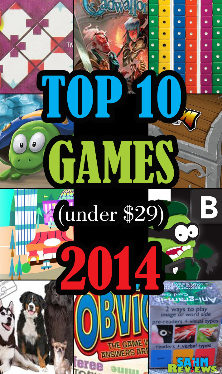 Board games, dice games, card games. They all translate to quality time! Here is our 2014 Gift Guide including 10 Must-Have Games under $29 - SahmReviews.com
