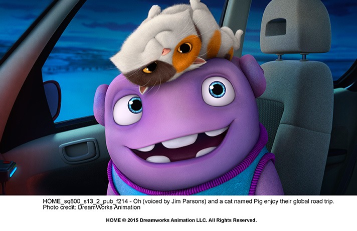 """Jim Parsons is more animated than normal as he plays """"Oh"""" in DreamWorks Home. - SahmReviews.com"""