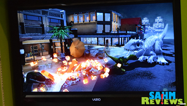 Dinosaur attacks in Lego Jurassic World for WiiU aren't gory! Very kid-friendly. - SahmReviews.com