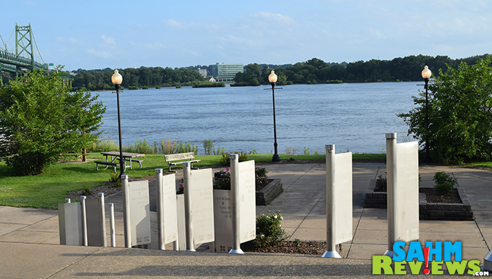 Leach Park in Bettendorf displays the Mississippi River locks and dams as art. - SahmReviews.com