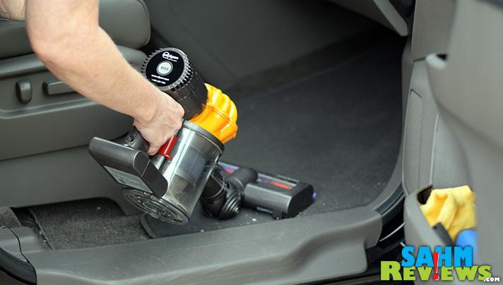 Use the Dyson V6 Slim to vacuum small areas like a car or RV. - SahmReviews.com
