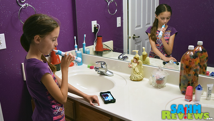 Sonicare for Kids connected toothbrush offers an app to help your child learn where to brush and for how long. - SahmReviews.com