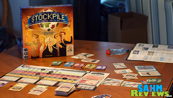 Stockpile by Nauvoo Games turned out to be a enjoyable representation of the financial markets in a 5-player game! A perfect gift for the aspiring Wall Street shark! - SahmReviews.com