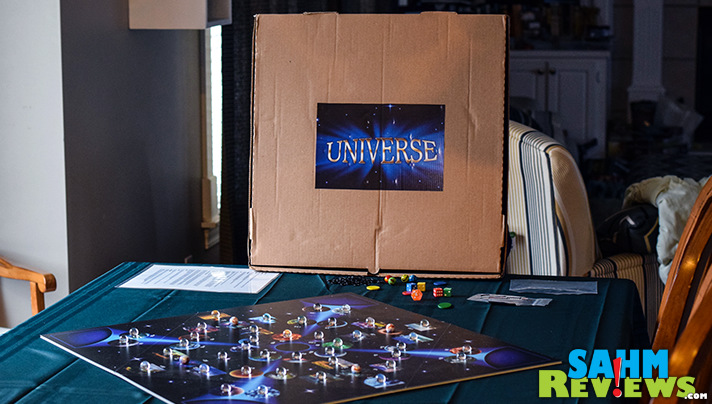Universe by Diletostra is another example of a self-published game delivered in a pizza box. Is this one all it is sliced up to be? - SahmReviews.com
