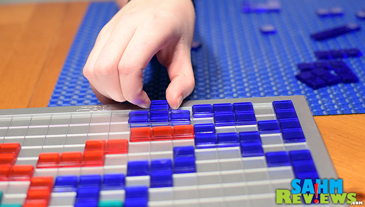 Unlike Tetris, with Blokus you can't connect to your own pieces except at the corner. - SahmReviews.com