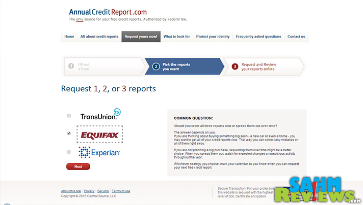 You can get a free credit report from each credit agency once annually. - SahmReviews.com