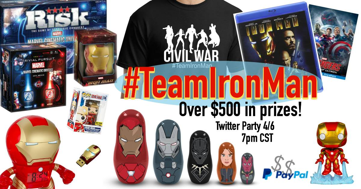 We'll have over $500 in prizes at the #TeamIronMan Twitter party on 4/6! - SahmReviews.com #CaptainAmericaEvent