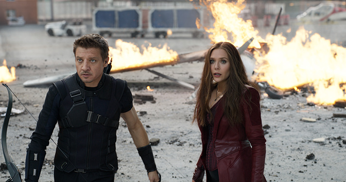 Learn more about Hawkeye and Scarlet Witch in our exclusive interviews with Jeremy Renner and Elizabeth Olsen. - SahmReviews.com #CaptainAmericaEvent
