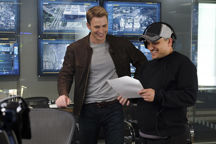 Chris Evans and Director Joe Russo during Captain America Civil War - SahmReviews.com #CaptainAmericaEvent