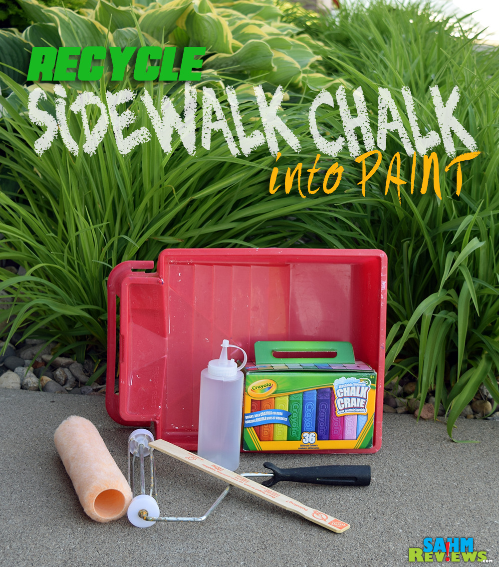 Have a lot of unused sidewalk chalk laying around? Turn it into chalk paint with this 2-ingredient recipe in an afternoon! - SahmReviews.com