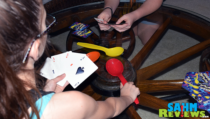 The retro game, Spoons, got a giant upgrade. Literally. Giant Spoons game offers the same play with a larger than life component. - SahmReviews.com