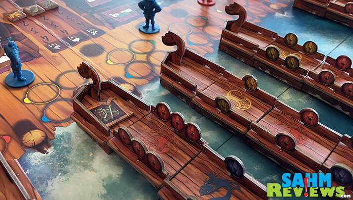 Vikings on Board from Blue Orange Games has players betting about who will take control of the ships and the supplies when they set sail. - SahmReviews.com