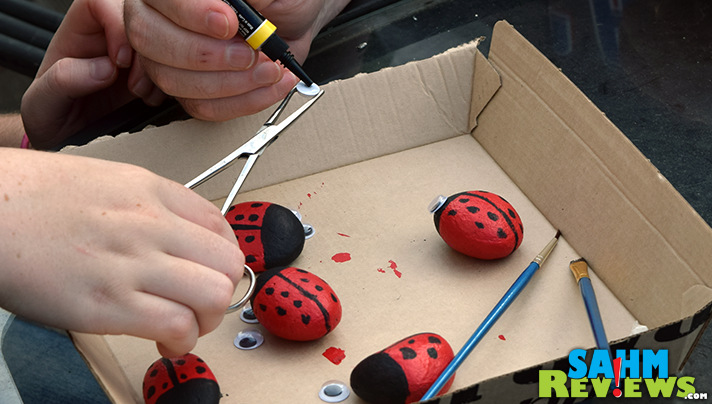 Add eyes to your DIY Pet Rock Ladybugs. Check out our tutorial. Easy, kid-friendly! - SahmReviews.com