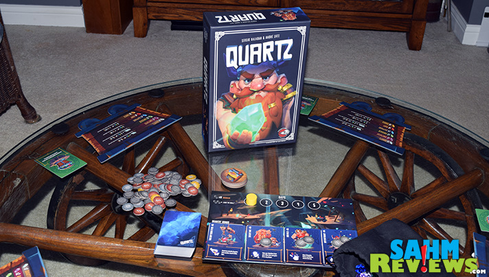 You'll have to wait to get your own copy of Quartz by Passport Game Studios. We were lucky to acquire one at Gen Con so we could tease you with it! - SahmReviews.com