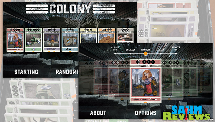 No two games of Bezier Games' Colony are alike thanks to variable starting cards and an app that randomizes them. - SahmReviews.com