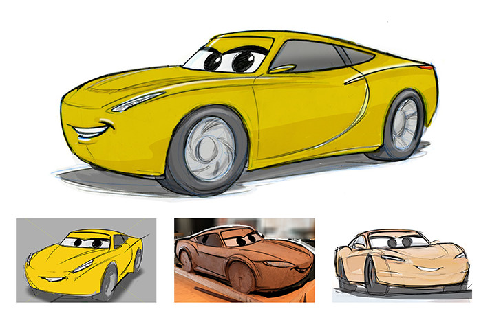 Cars 3 characters such as Cruz Ramirez were sculpted then revised to portray the right personality. - SahmReviews.com #Cars3Event