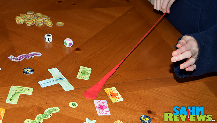 You might get tongue-tied playing iello's Sticky Chameleons. But that's part of the fun! Try your hand at grabbing the bugs only using your tongue! - SahmReviews.com