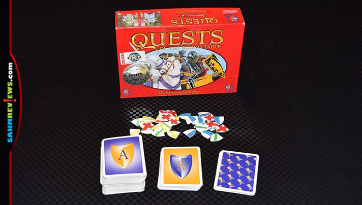 Quests of the Round Table is more than a standard trick-taking card game. It has you battling each other to earn shield and rank up! - SahmReviews.com