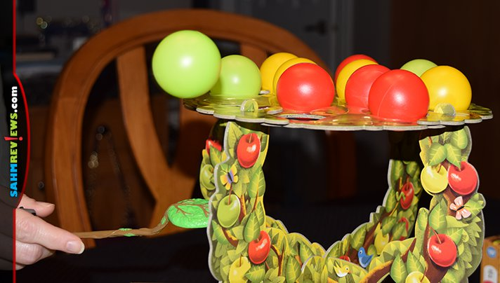 Apple Pop is designed for smaller kids, but we couldn't resist the included gorgeous 3D tree! It's the second game we bought while thrifting out of town! - SahmReviews.com