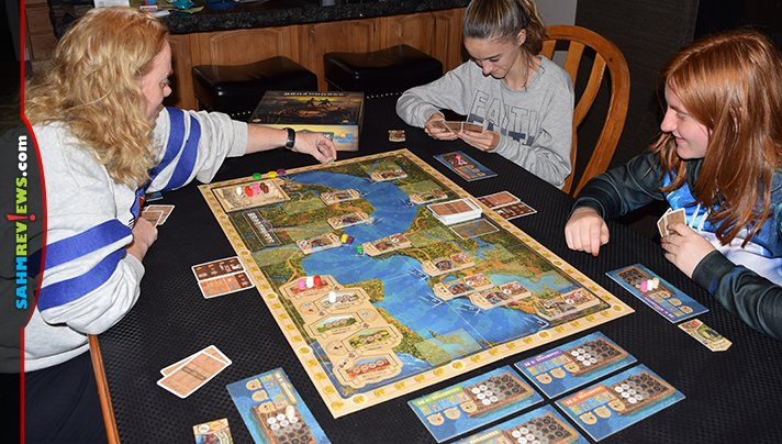 Learn about economics while you travel on the Mississippi River picking up and delivering goods in Broadhorns board game from Rio Grande Games. - SahmReviews.com