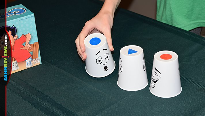 Deductive thinking and fast reflexes are helpful when playing Cup-A-Cup family game from R&R Games. - SahmReviews.com