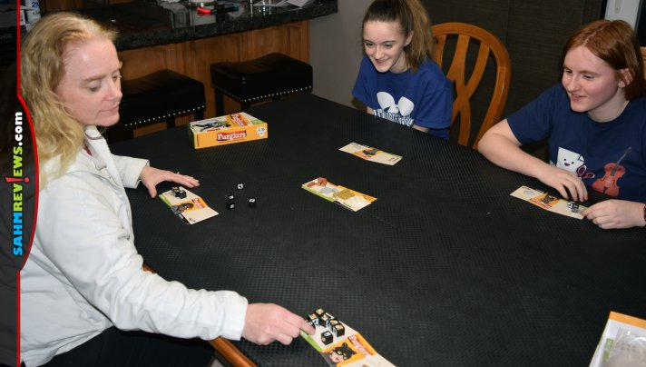 The cute dice in Furglars by Bananagrams drew us in. The speedy and take-that game play is why it keeps ending up in our game nights! - SahmReviews.com