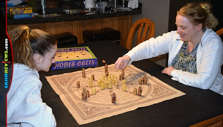 This version of Noble Celts tries to pay homage to ancient games of circular Chess. Even with the wrinkled board, it was worth the $2.88 we paid at thrift! - SahmReviews.com