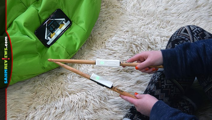 Attach Senstroke Bluetooth sensors to drumsticks and feet then sync with the app to practice percussion skills without a drum kit. - SahmReviews.com