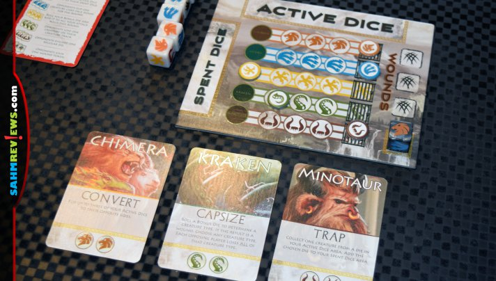 Other games we've played have you battling Titans. In Titan Dice, you ARE the Titans! Roll dice to capture enough creatures to fight the gods! - SahmReviews.com