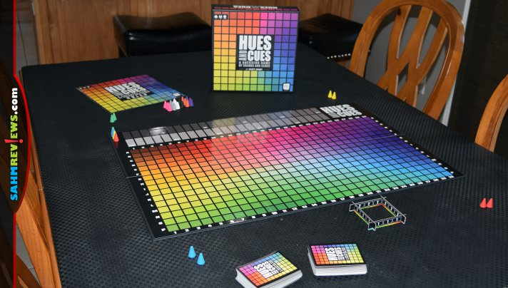 Designed by Scott Brady, Hues and Cues is a party game about color perception where you use one or two cues to get players to guess your hue. - SahmReviews.com