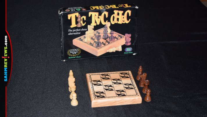 It's cross between Chess and Tic-Tac-Toe. Tic Tac Chec was originally offered in the 90's and was sitting on the shelf of our thrift store!