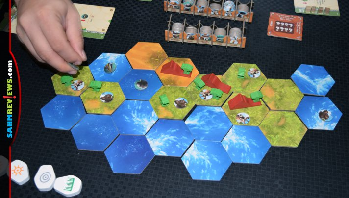 Get your engine running to efficiently develop the land and move animals around in Ecos: First Continent from Alderac Entertainment Group. - SahmReviews.com