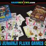 Have a movie-themed game night by playing games inspired by movies. Our list includes card games like Marvel Fluxx and Jumanji Fluxx from Looney Labs. - SahmReviews.com