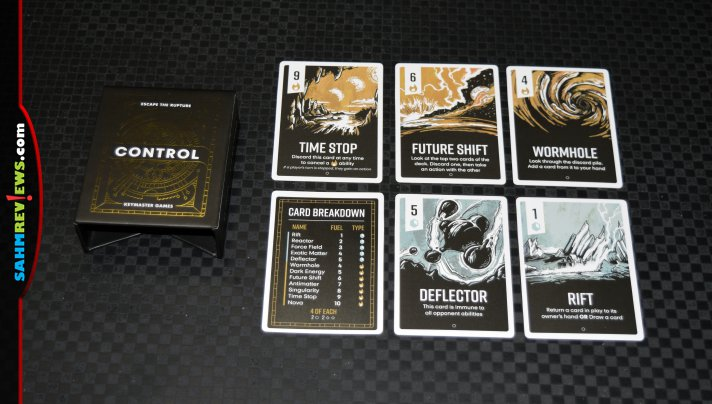 Race you opponents to be the first to store enough fuel to escape the time rift in Control card game from Keymaster Games. - SahmReviews.com