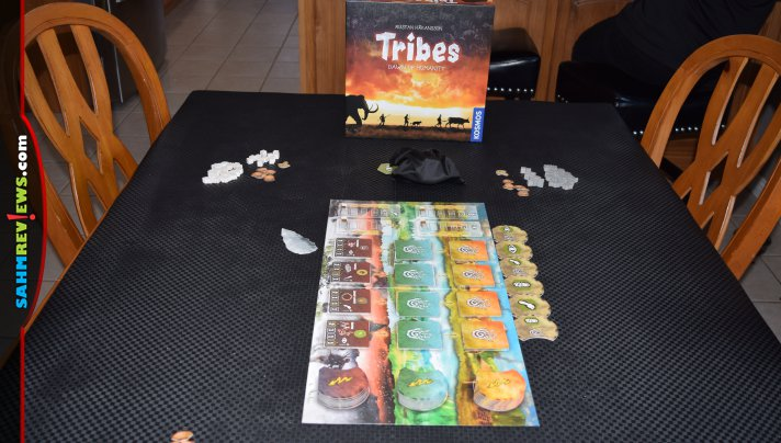 Limited action options makes Tribes: Dawn of Humanity from Thames & Kosmos a quick-playing, family-friendly exploration game. - SahmReviews.com