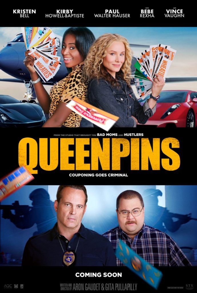 Coupons plus Kristin Bell and Kirby Howell-Baptiste equals STX Films' Queenpins, a movie about a multi-million dollar coupon fraud. - SahmReviews.com